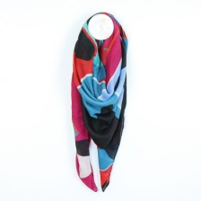 Vibrant Graphic Flower Print Scarf in Red and Blue by Peace of Mind