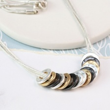 Mixed Finish Multi Hoop Necklace by Peace of Mind