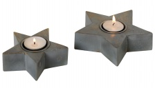 Small Grey Star Tea Light Holder by Retreat