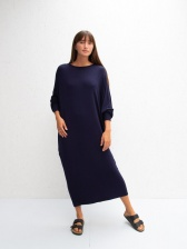 Ruth Drape Jersey Dress Navy by ChalkUK
