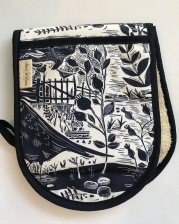 Navy Garden Bird Oven Gloves by Sam Wilson Studio
