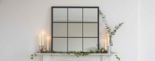 Black Metal Square Framed Mirror by Garden Trading