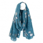 Teal Scarf with Rose Gold Dandelion Print by Peace of Mind
