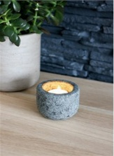 Curved granite candle holder by Garden Trading