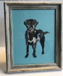 Exclusive Framed Embroidery Print ''Labrador'' on Turquoise by Ema Corcoran for Hilly Horton Home