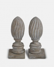 Pair of grey stone finial bookends by  The Vintage Garden Room