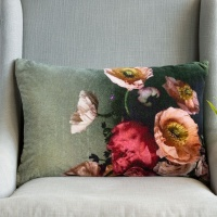Poppies Velvet Cushion by Grand Illusions