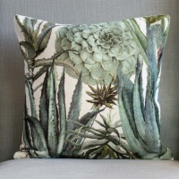 Succulents Velvet Cushion by Grand Illusions