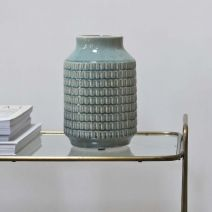 Light Blue Terrain Ceramic Vase by Biggie Best