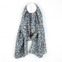 Recycled Blue Scarf with Heart Print by Peace of Mind