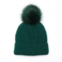 Green Cable Knit Faux Fur Bobble Hat by Peace Of Mind