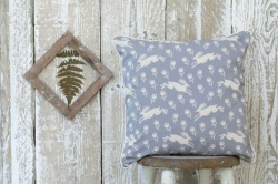 Running Hare grey cotton cushion by Sam Wilson Studio