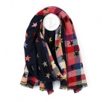 Reversible Navy Jacquard Star Scarf by Peace of Mind
