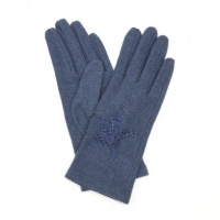 Navy Wool Gloves with Embellished Star by Peace Of Mind
