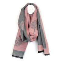 Pink and Grey Tree of Life Scarf by Peace of Mind