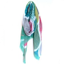 Green Mix Multi Print Teardrop Scarf by Peace of Mind