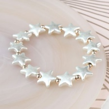 Silver Plated Matt Star & Rose Gold Plated Bead Bracelet by Peace of Mind
