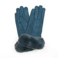 Teal Faux Suede Gloves with Faux Fur Trim by Peace Of Mind