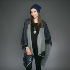 Tess Wrap Navy & Grey
